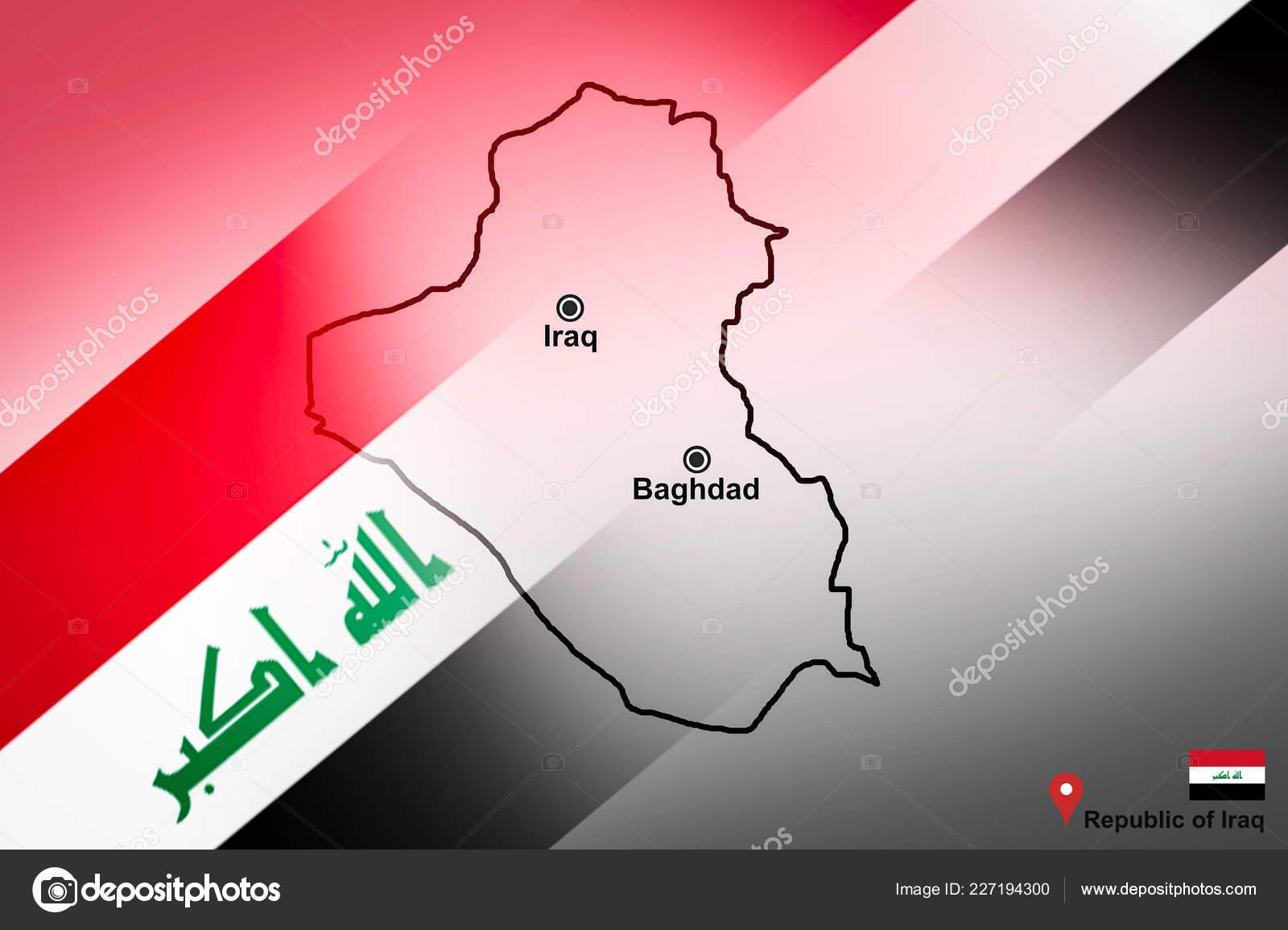 Karte Des Irak Und Bagdad Mit Standort Karte Pin Und — Stockfoto ...