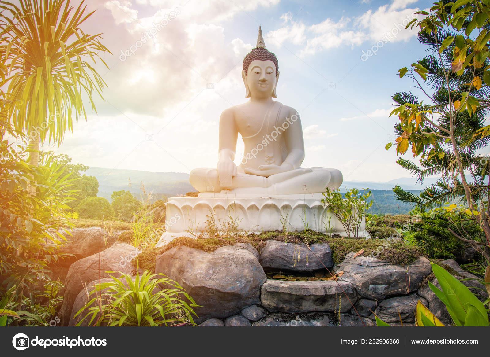 Garden Buddha Statue Buddha Statue White Rock Hill Landscape Statue Stock Photo Image By C Poringdown Gmail Com 232906360