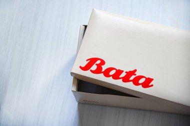 Bangkok Thailand - January 18 2019 : Box shoe Bata logo banner and red wording