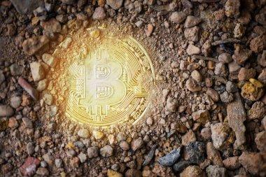 Zemin toprak ile hafif / sanal cryptocu derin Bitcoin altın