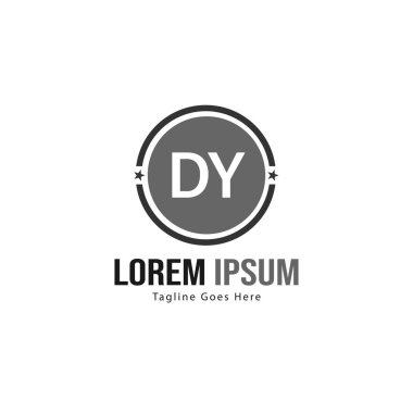 Initial DY logo template with modern frame. Minimalist DY letter logo vector illustration
