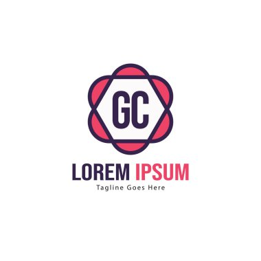 Initial GC logo template with modern frame. Minimalist GC letter logo vector illustration