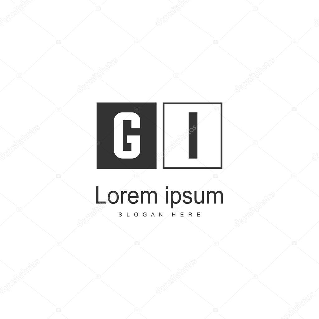 Initial GI logo template with modern frame. Minimalist GI letter logo vector illustration