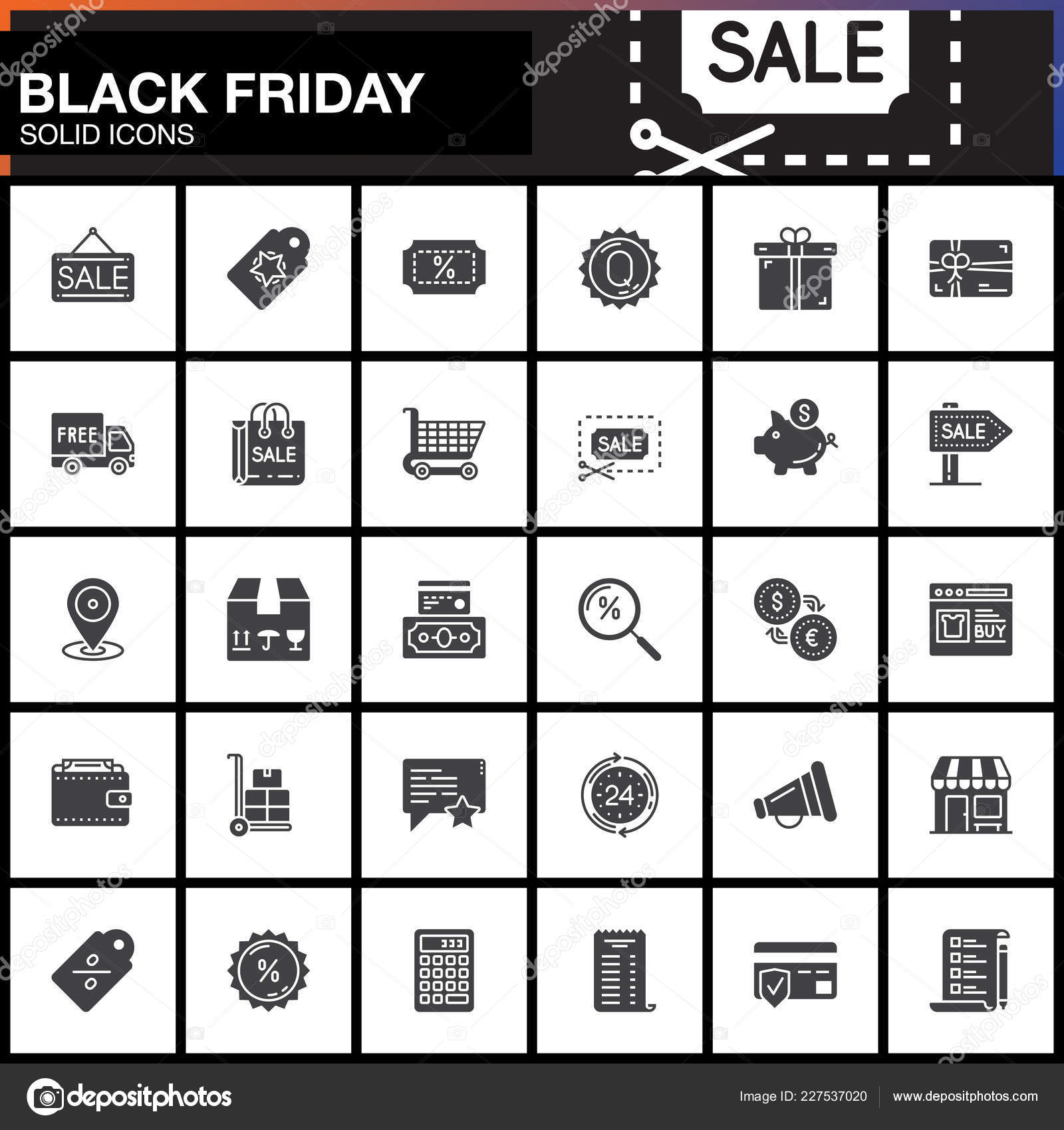 Black Friday Sale Vector Icons Set Shopping Modern Solid