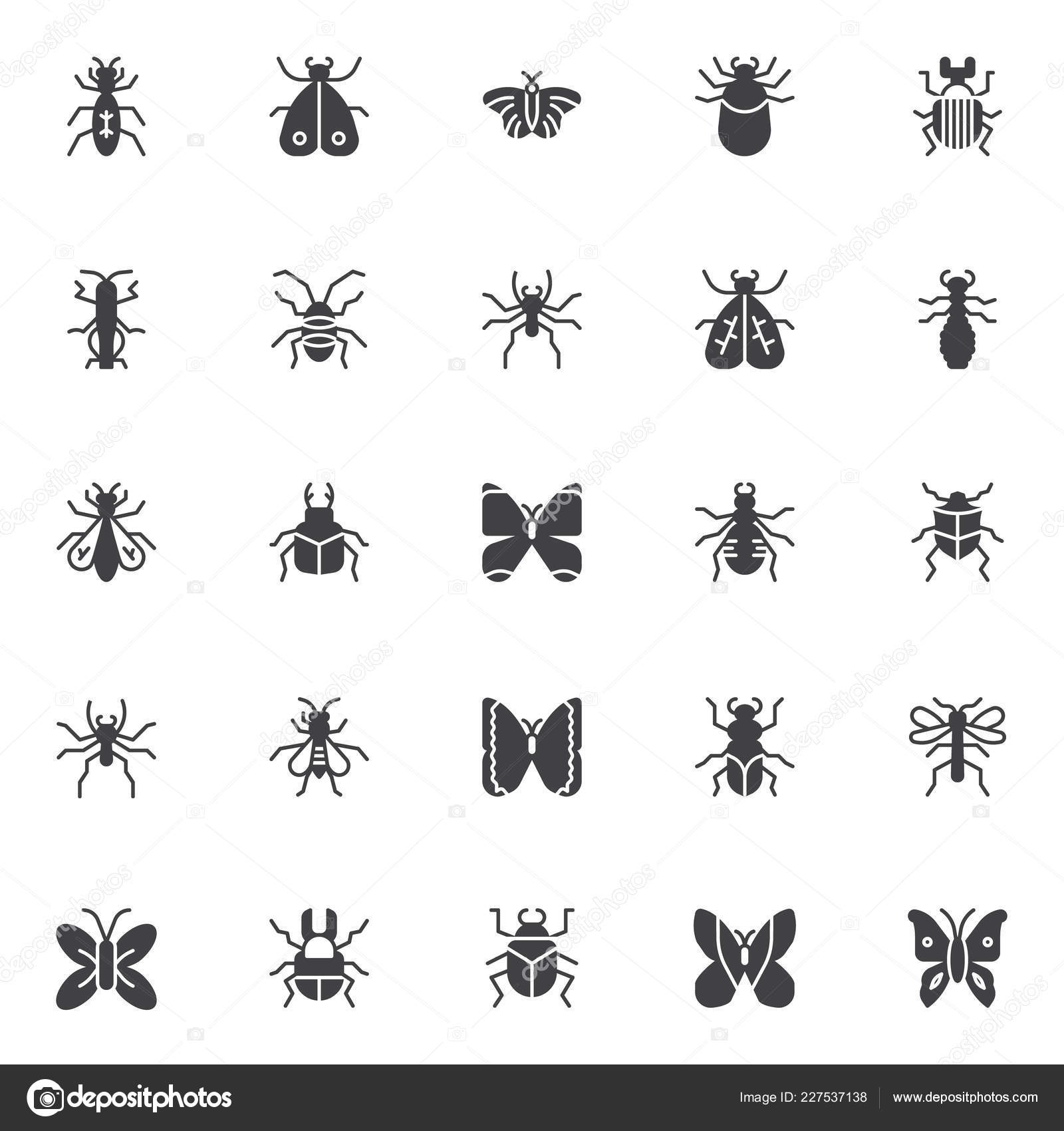 Insects Bugs Vector Icons Set Modern Solid Symbol Collection Filled