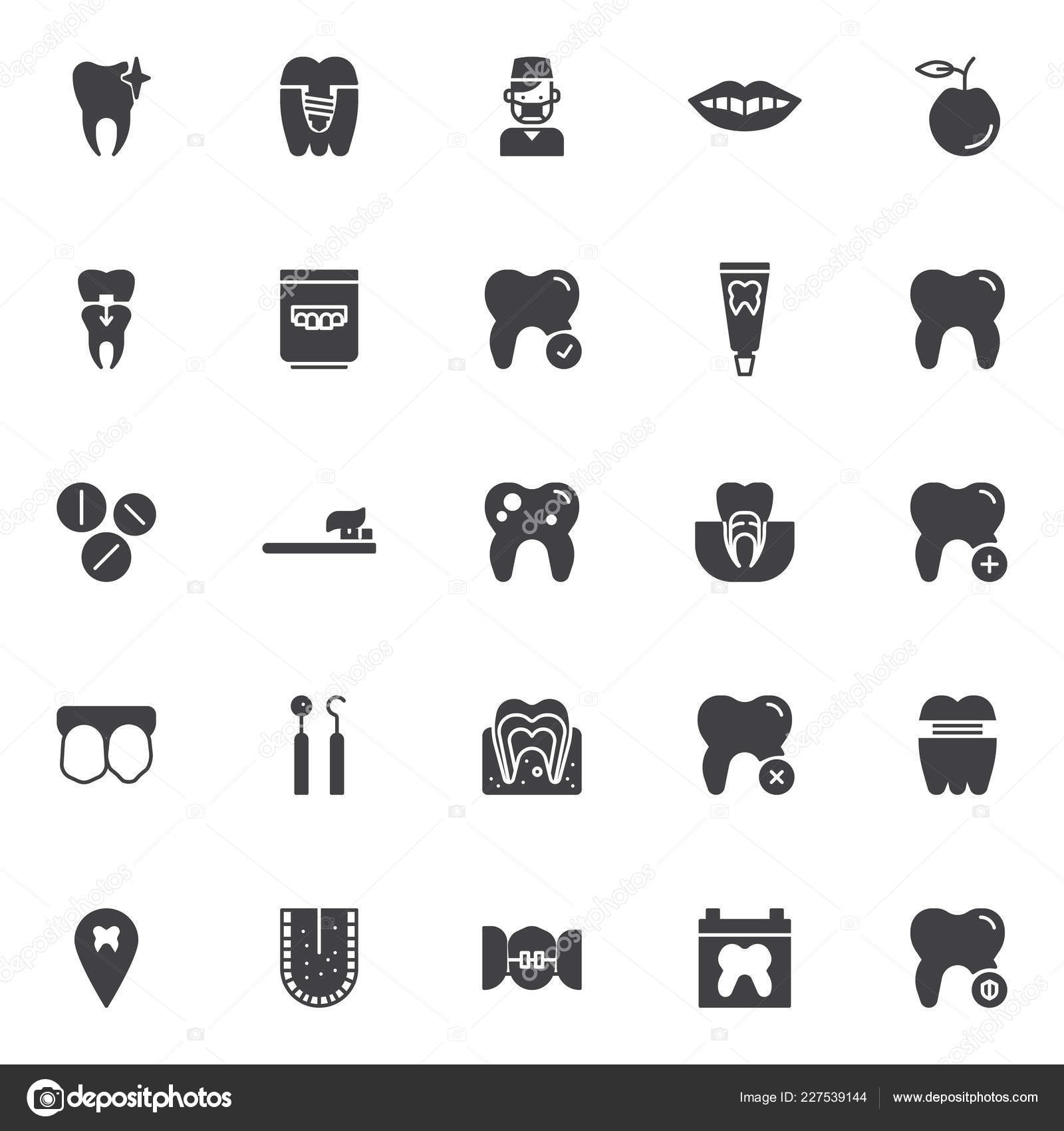 Dental Equipment Vector Icons Set Modern Solid Symbol Collection