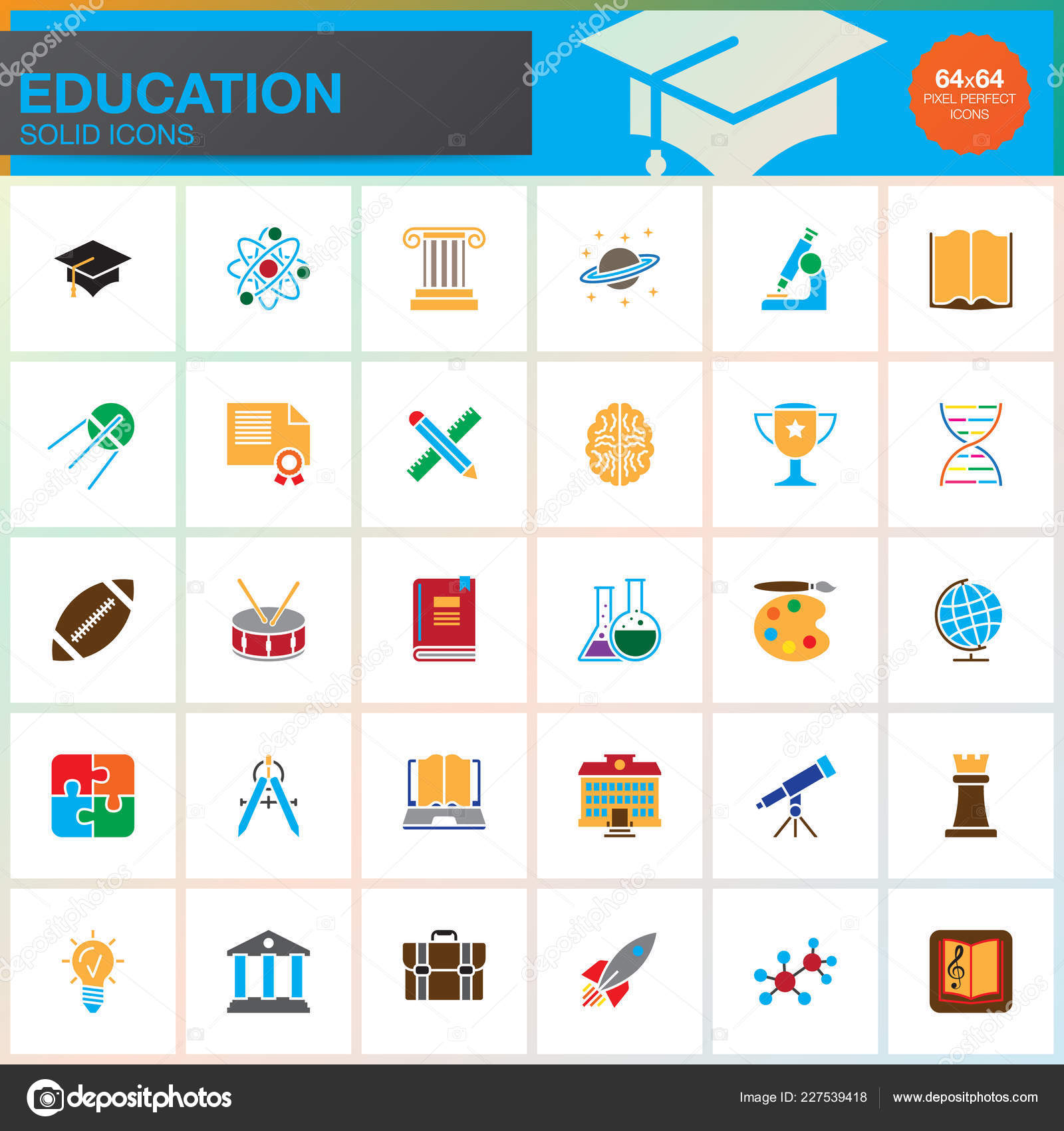 Education Vector Icons Set Colorful Solid Symbol Collection