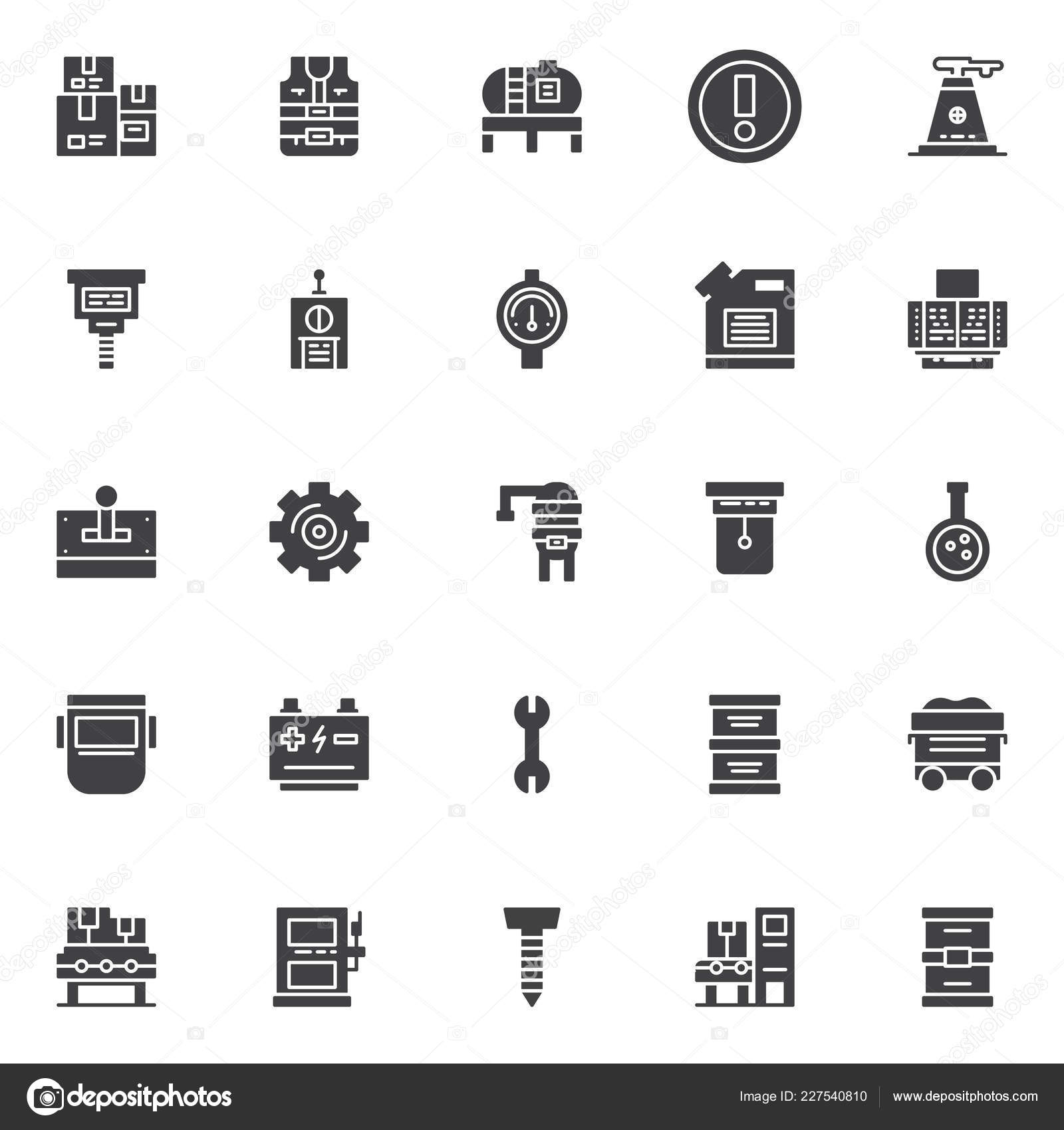 Factory Vector Icons Set Modern Solid Symbol Collection Filled Style