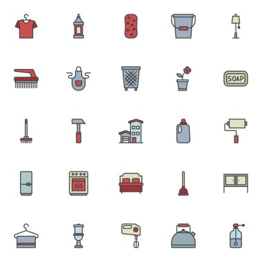Household filled outline icons set, line vector symbol collection, linear colorful pictogram pack. Signs, logo illustration, Set includes icons as hanger with shirt, detergent bottle, sponge, bucket icon