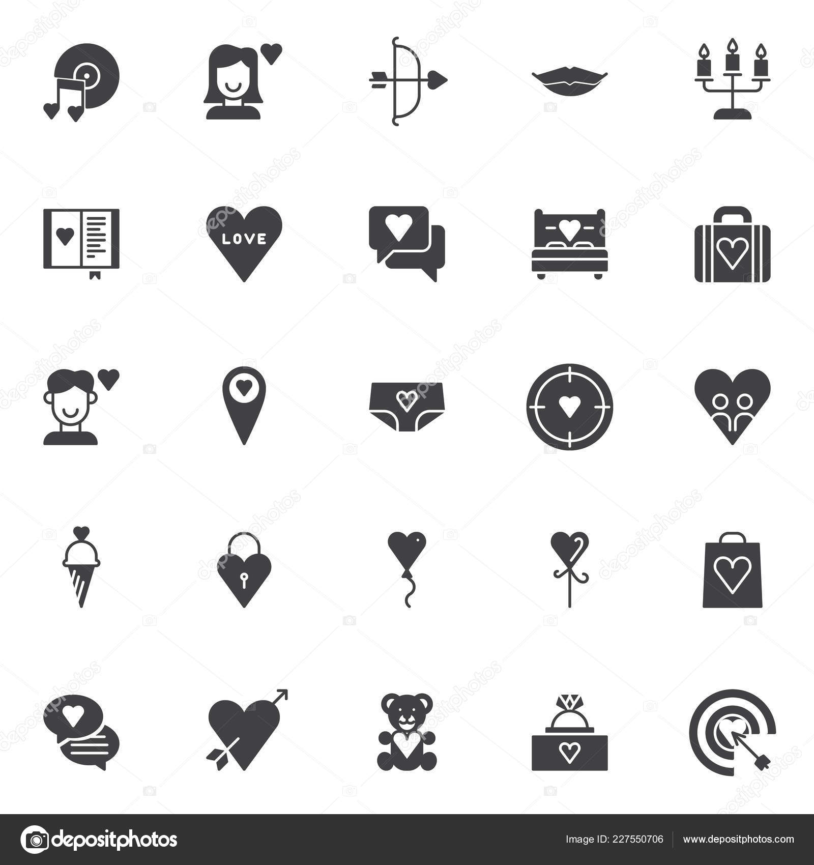 Love Universal Vector Icons Set Modern Solid Symbol Collection