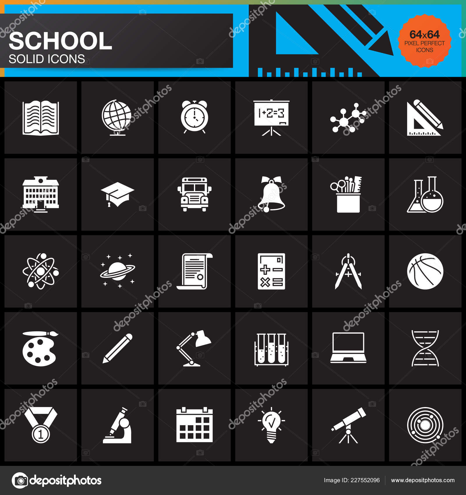 School Vector Icons Set Modern Solid Symbol Collection