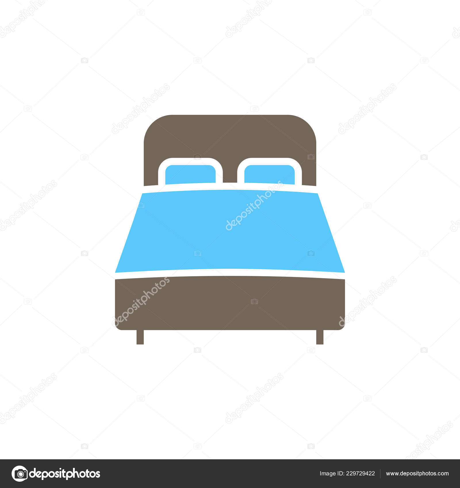 Double Bed Icon Vector Solid Flat Sign Colorful Pictogram Isolated