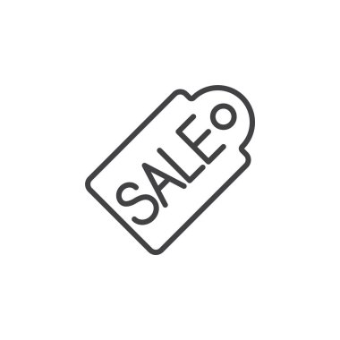 Sale price tag line icon, outline vector sign, linear pictogram isolated on white. logo illustration