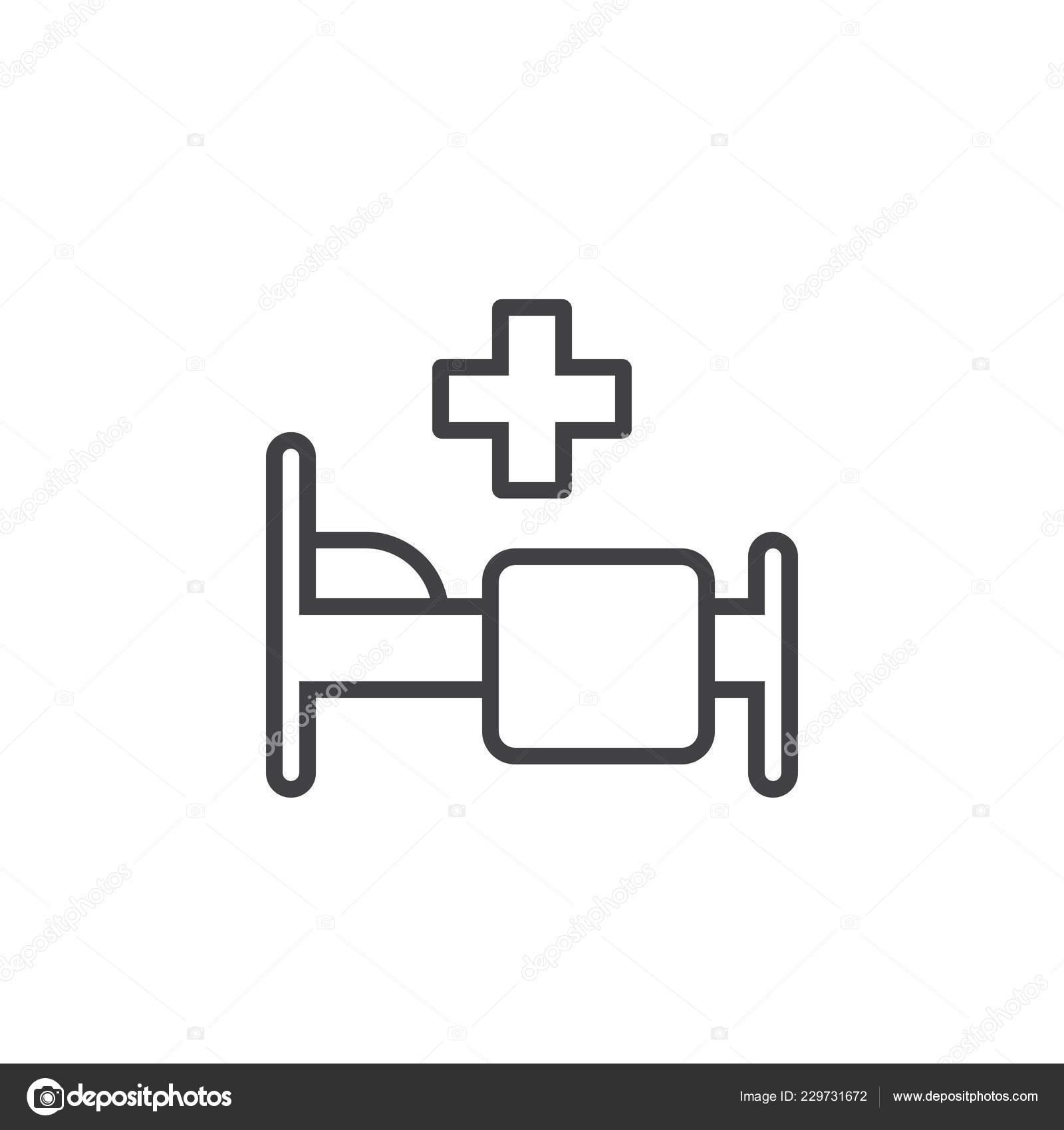 Hospital Symbol Bed Cross Line Icon Outline Vector Logo