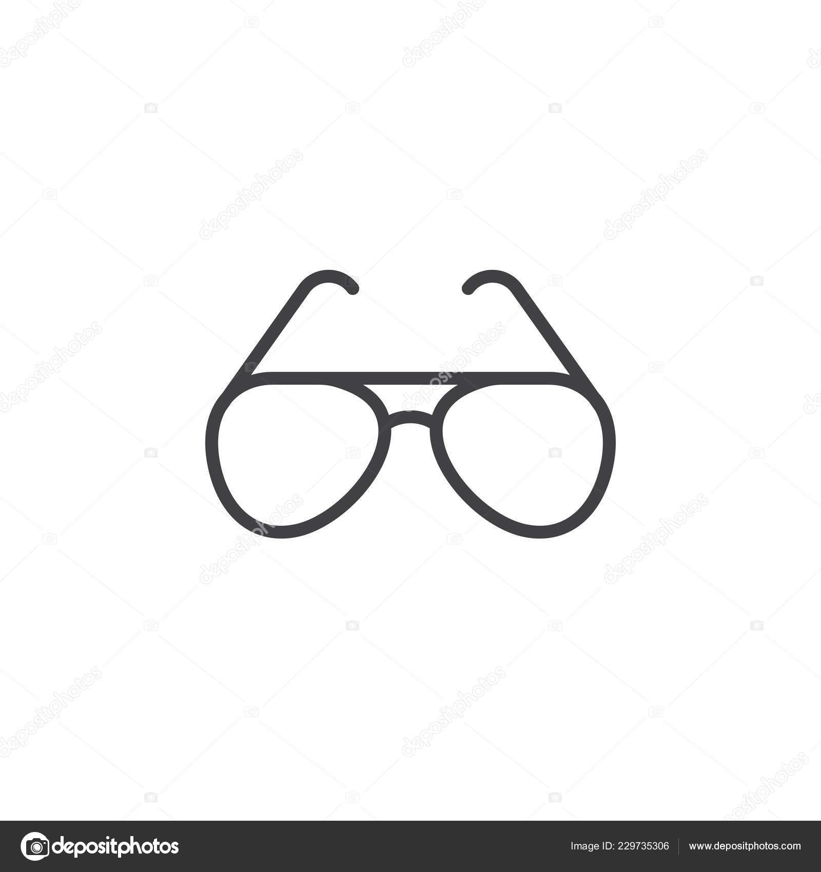 Contorno Pictograma Gafas Sol Vector Icono Línea Señal POn80wk