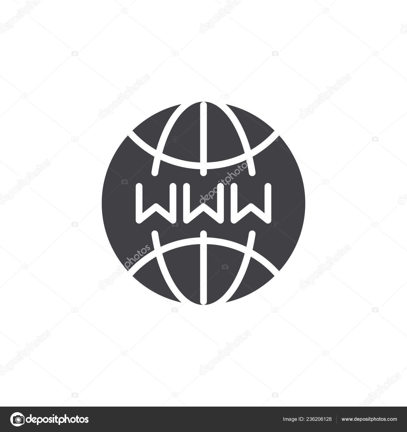 Www Internet Globe Icon Vector Filled Flat Sign Solid