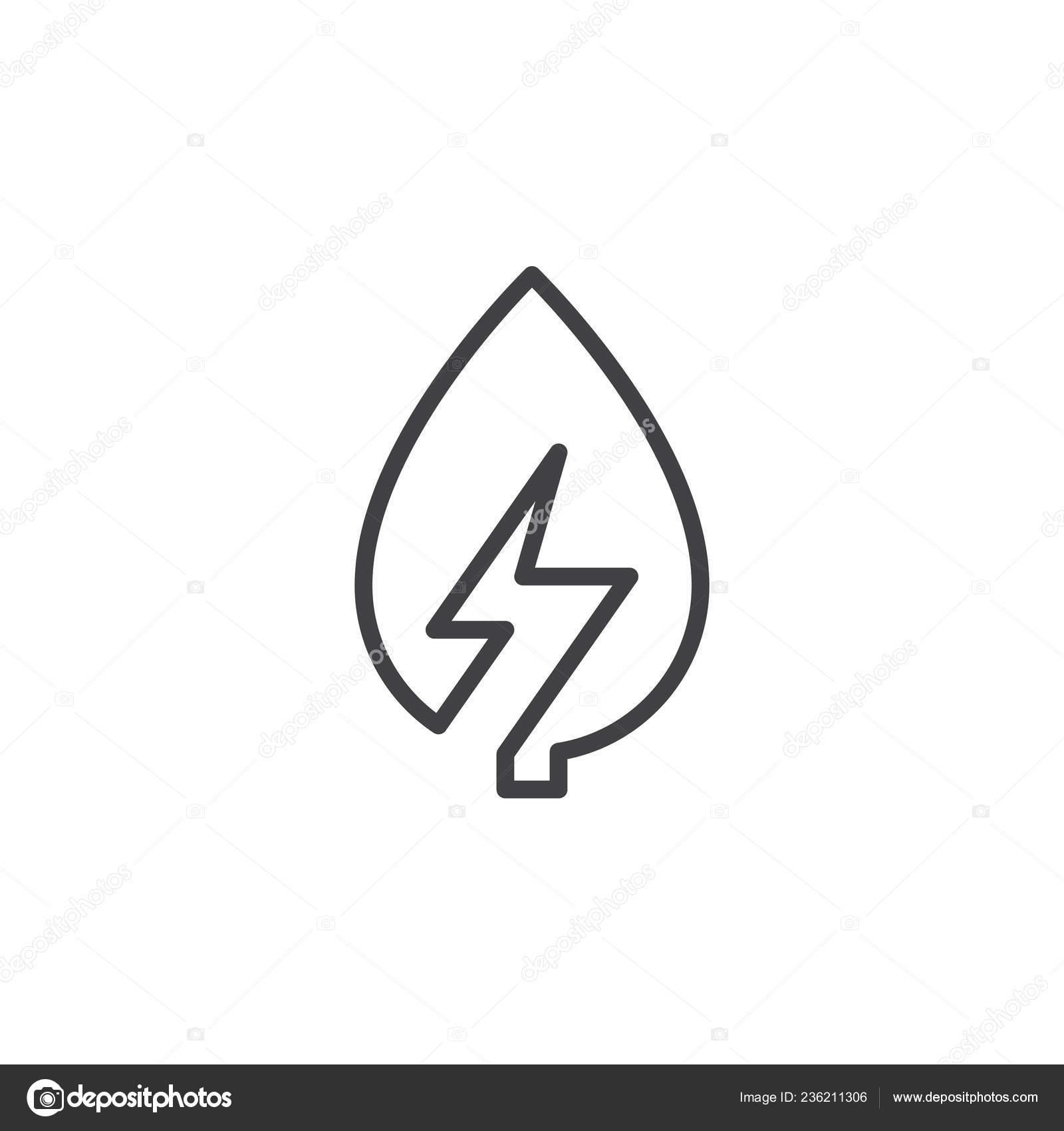 Leaf Lightning Bolt Line Icon Outline Vector Sign Linear Style ...