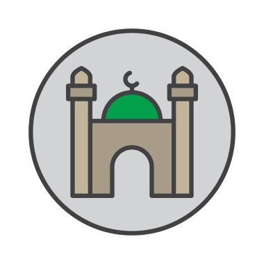 Mosque filled outline icon, round colorful vector sign, circular flat pictogram. Symbol, logo illustration