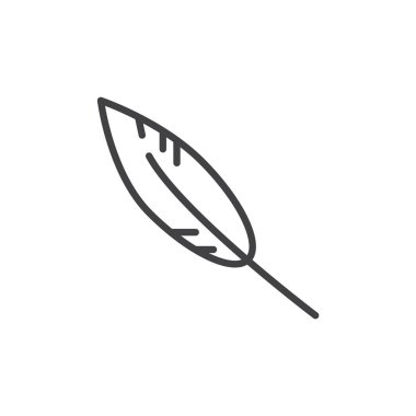 Feather line icon, outline vector sign, linear style pictogram isolated on white. Write symbol, logo illustration. Editable stroke