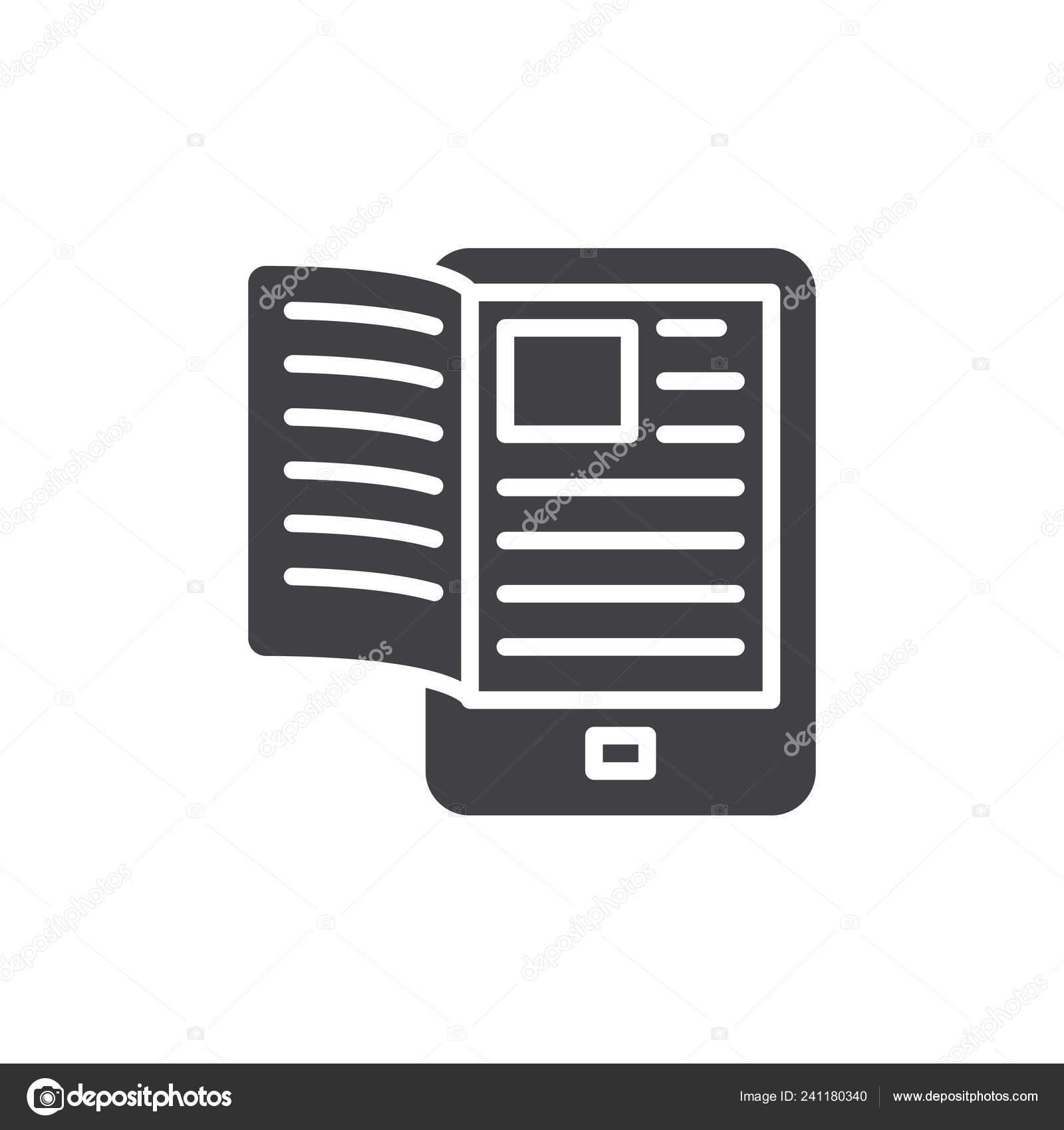 Livre Electronique Reader Icone Vecteur Rempli Plat Signe