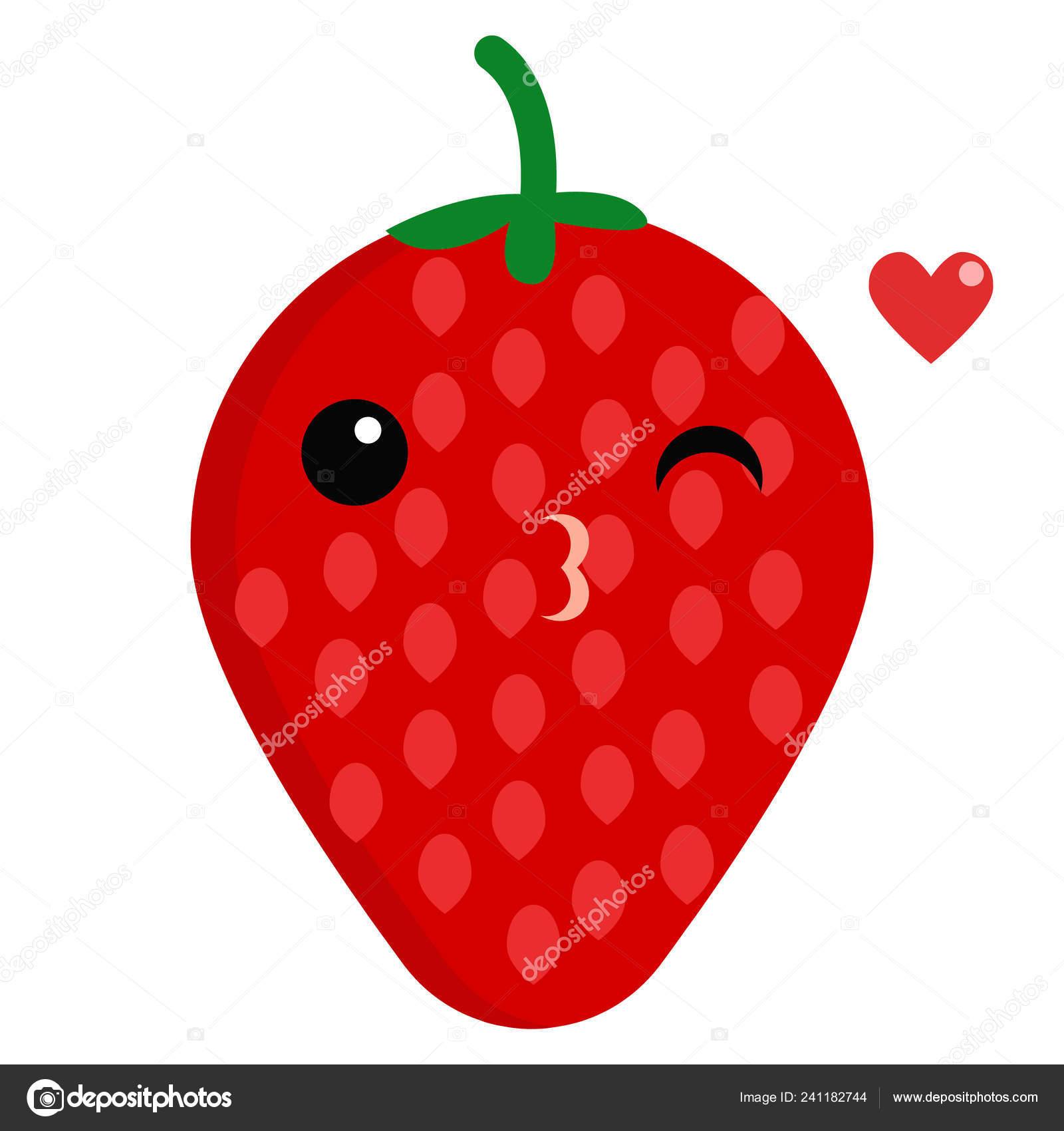 Strawberry Face Emoji Blowing Kiss Vector Illustration Flat