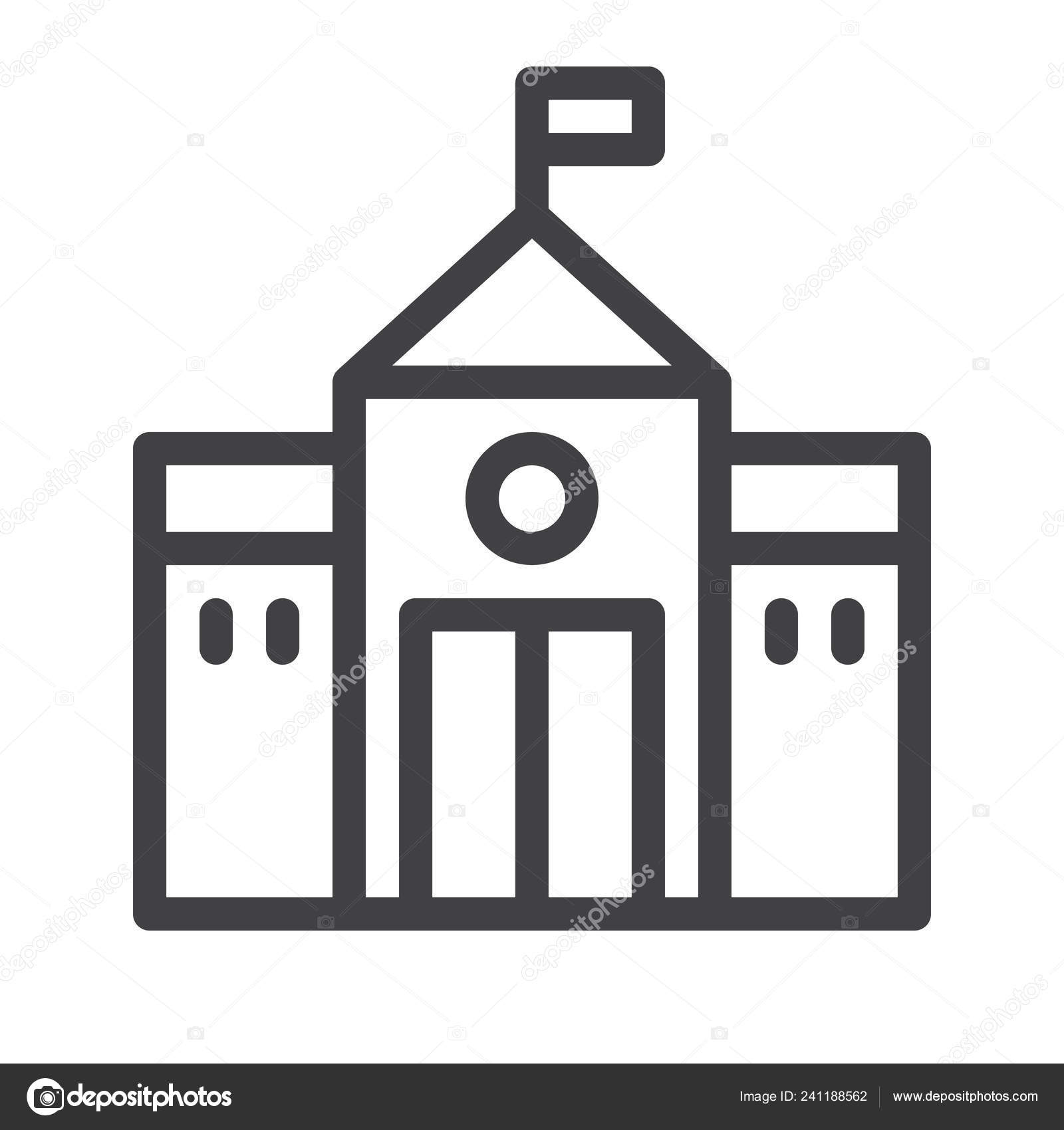 High School Line Icon Outline Vector Sign Linear Style