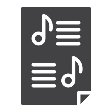 Sheet music icon vector, filled flat sign, solid pictogram isolated on white. Symbol, logo illustration. Pixel perfect graphics