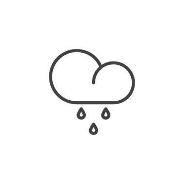Rainy cloud, weather line icon, outline vector sign, linear style pictogram isolated on white. Cloud and rain drops symbol, logo illustration. Editable stroke