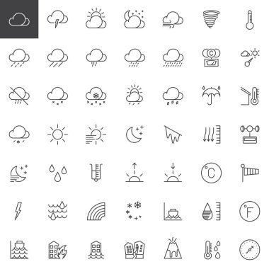 Weather forecast line icons set, outline vector symbol collection, linear style pictogram pack. Signs, logo illustration. Set includes icons as meteorology, climate, sun, moon, overcast, barometer icon