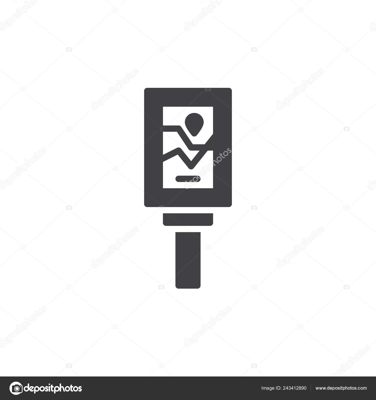 Road Sign Map Icon Vector Filled Flat Sign Solid Pictogram
