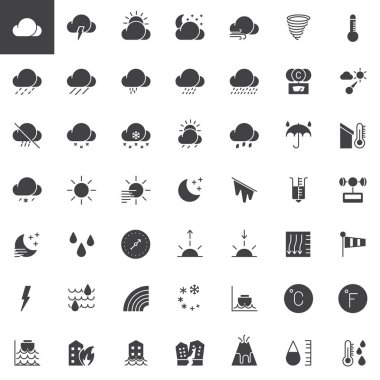 Weather forecast vector icons set, modern solid symbol collection, filled pictogram pack. Signs, logo illustration. Set includes icons as  meteorology, climate, sun, moon, overcast, barometer icon