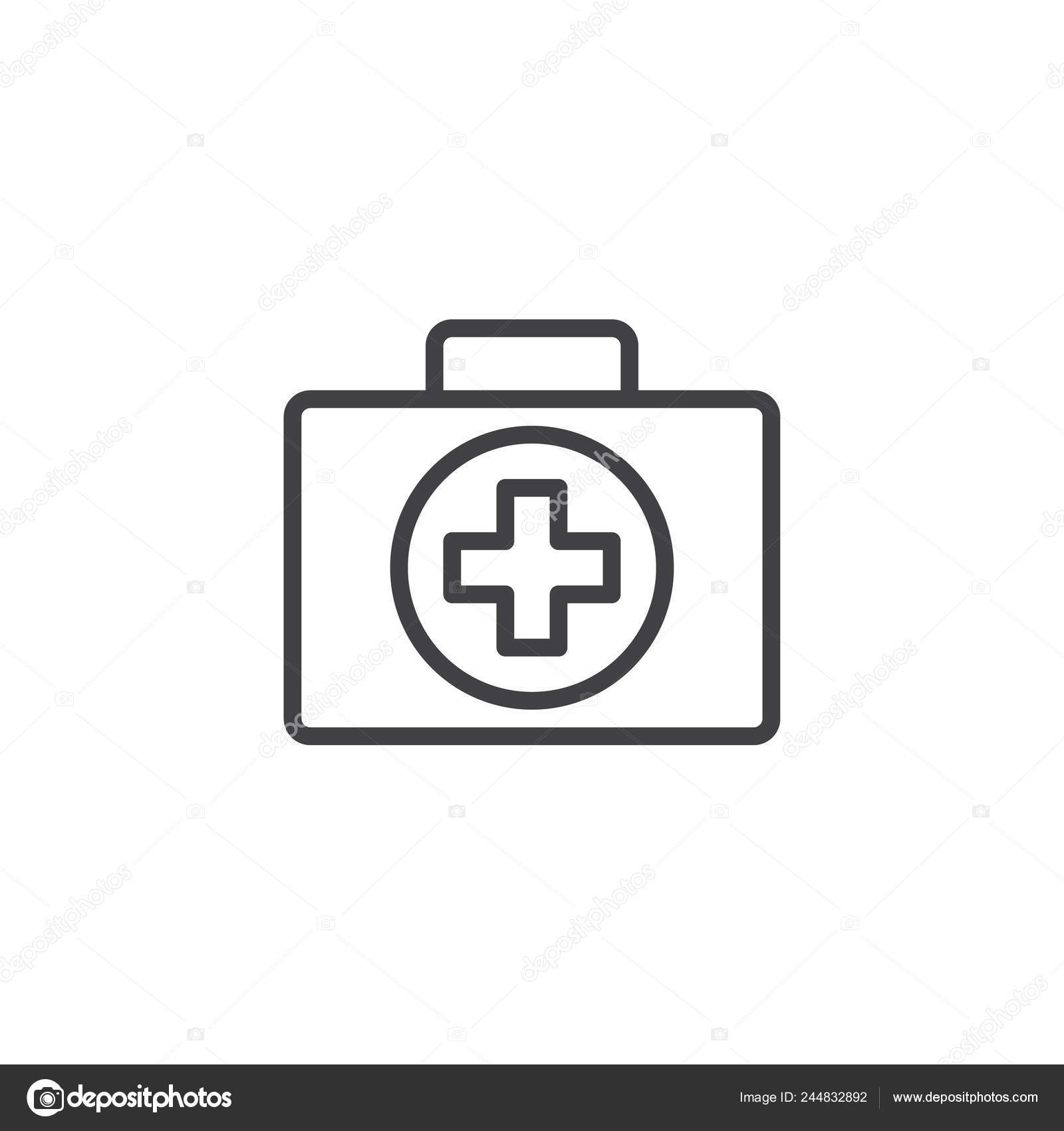 First Aid Kit Line Icon Outline Vector Sign Linear Style — Stock
