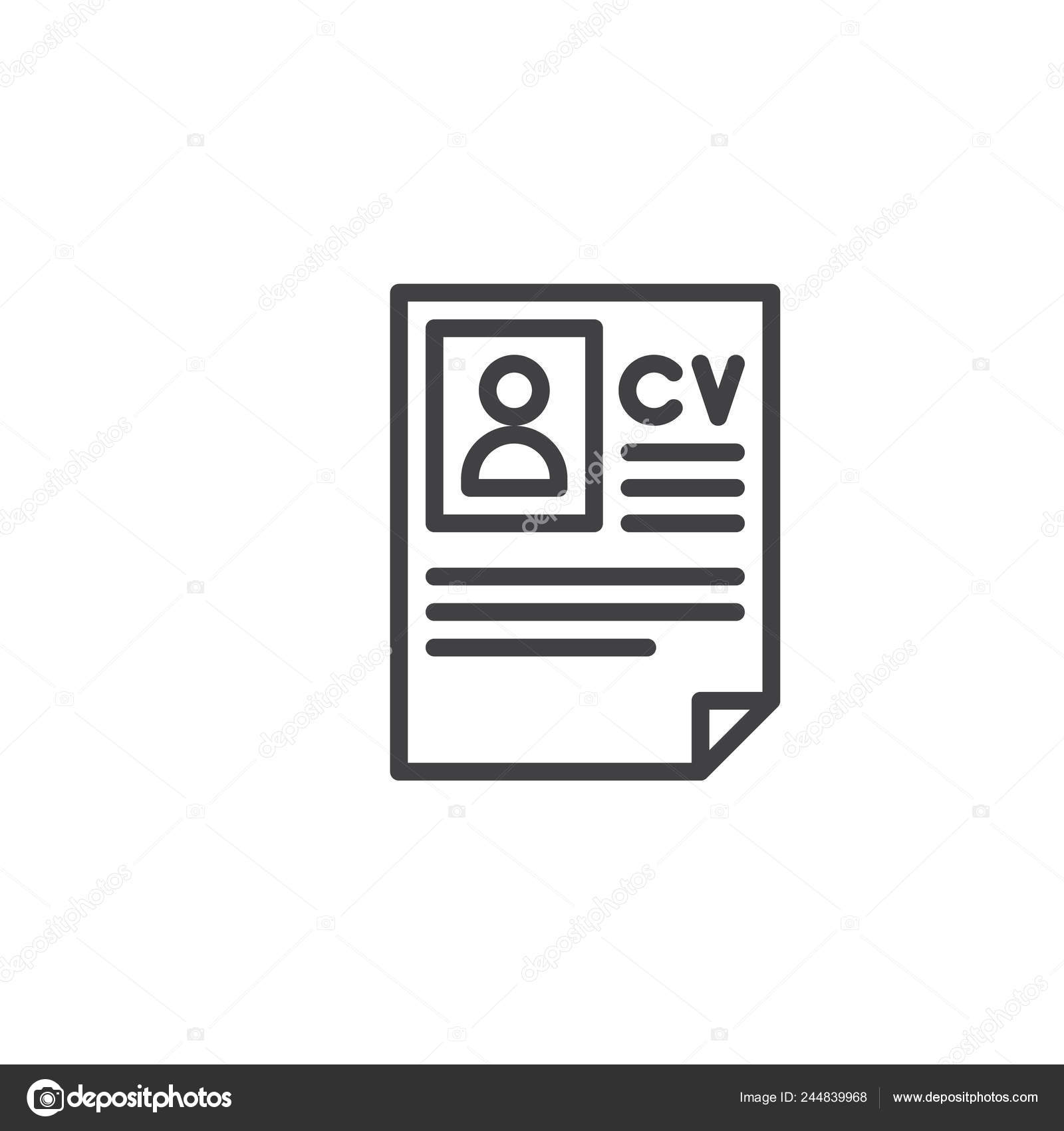 Resume Line Icon Outline Vector Sign Linear Style Pictogram