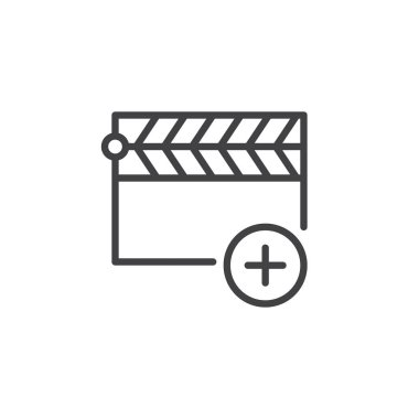 Add clapper line icon, outline vector sign, linear style pictogram isolated on white. Movie clapboard with plus symbol, logo illustration. Editable stroke