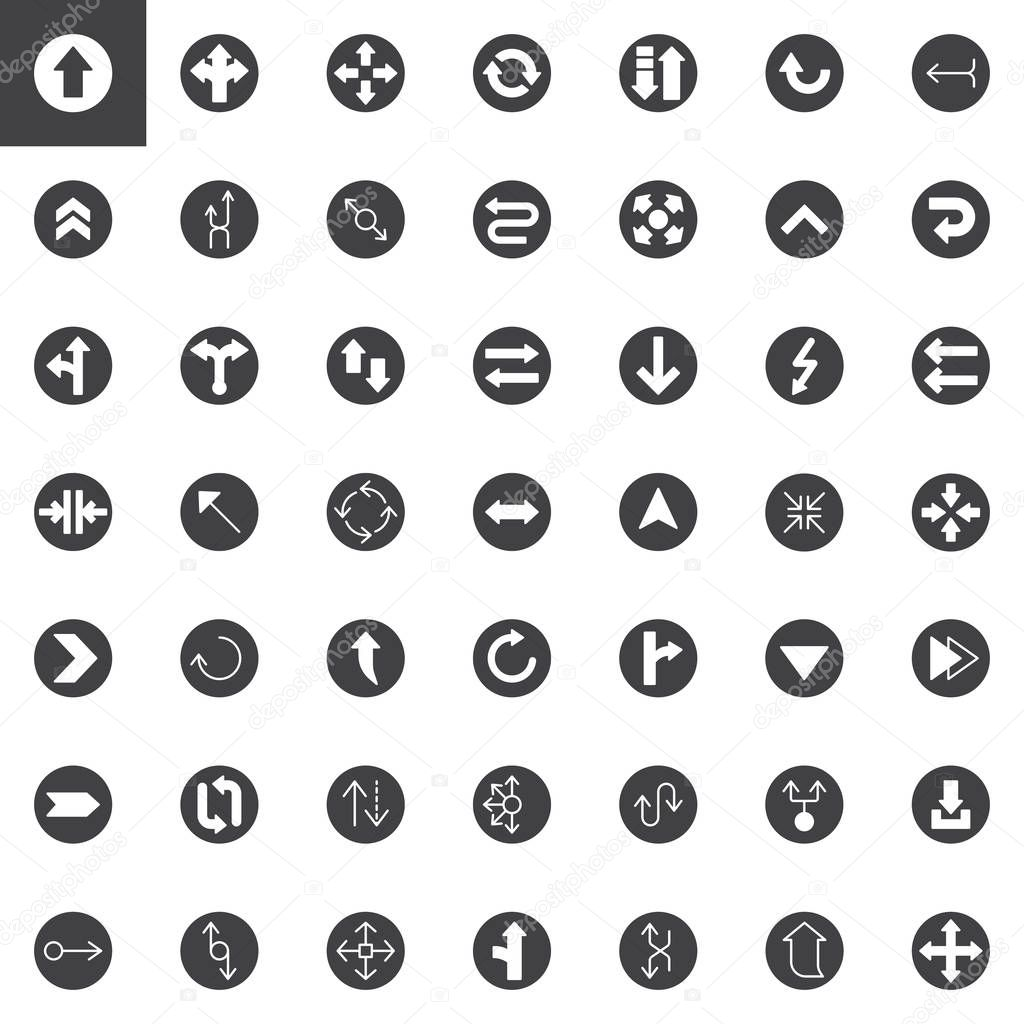 Universal Arrows vector icons set, modern solid symbol collection, filled style pictogram pack. Signs, logo illustration. Set includes icons as arrow, cycle, refresh, direction, upward, return