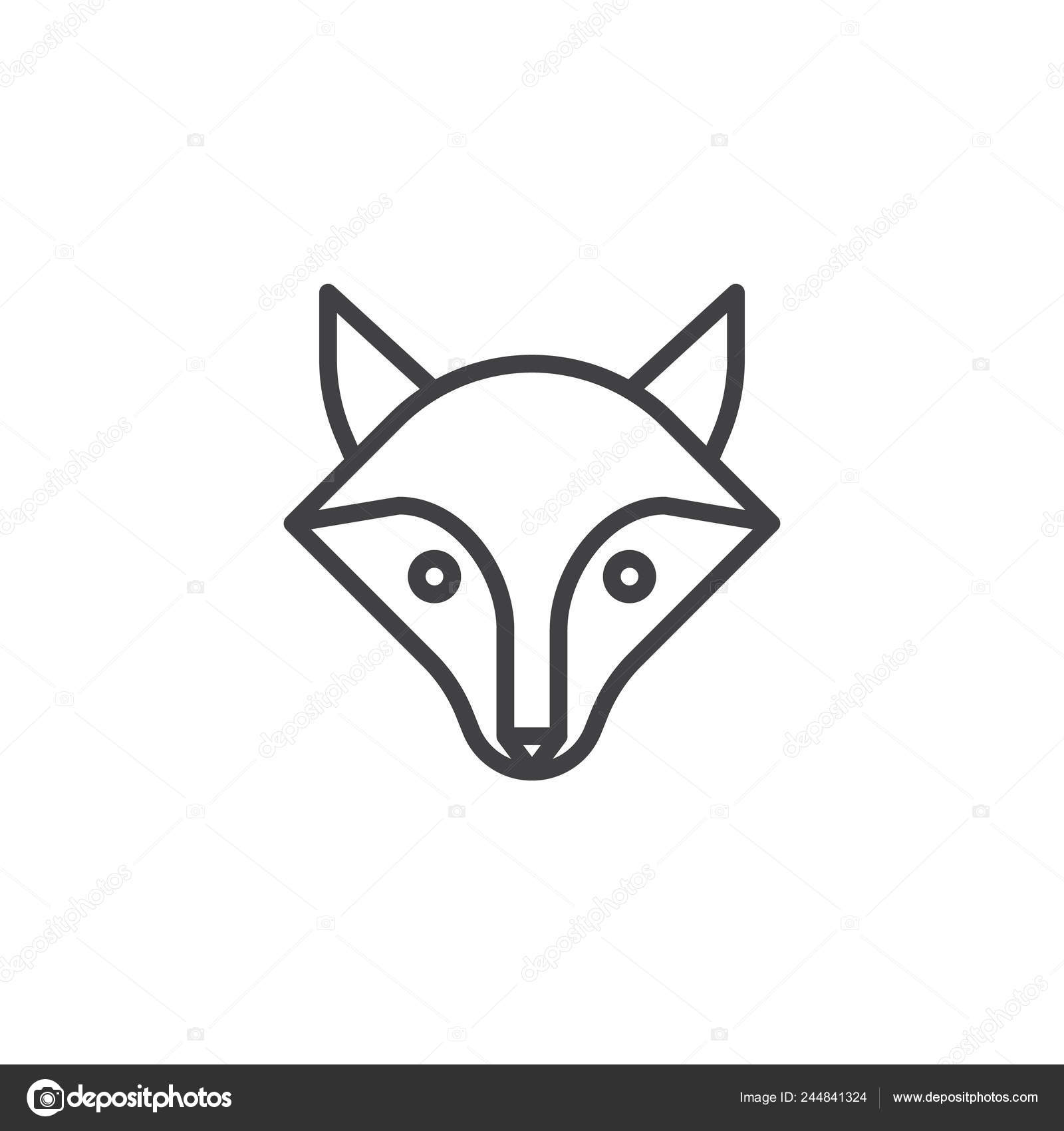Fox Head Line Icon Outline Vector Sign Linear Style Pictogram Stock Vector C Avicons 244841324