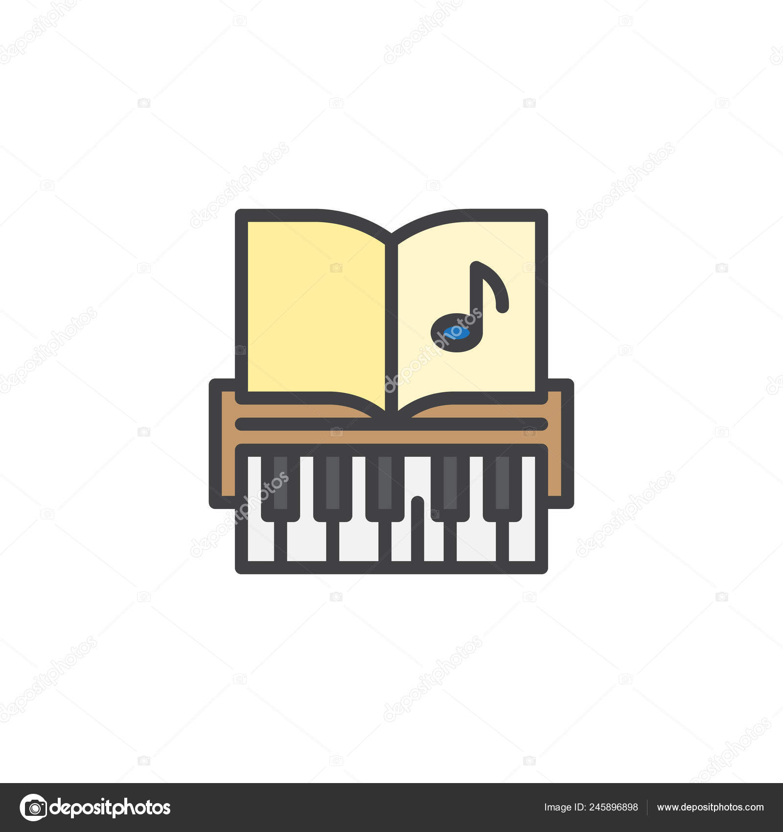 Piano Keys Music Notes Filled Outline Icon Line Vector Sign