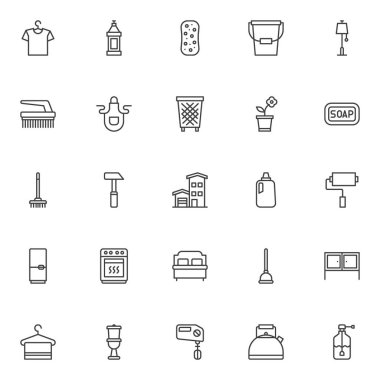 Household outline icons set. linear style symbols collection, line signs pack vector graphics. Set includes icons as hanger with shirt, detergent bottle, sponge, bucket, floor lamp, clean brush, apron icon