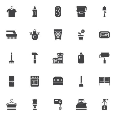 Household vector icons set, modern solid symbol collection, filled style pictogram pack. Signs logo illustration. Set includes icons as  hanger with shirt, detergent bottle, sponge, bucket, floor lamp icon