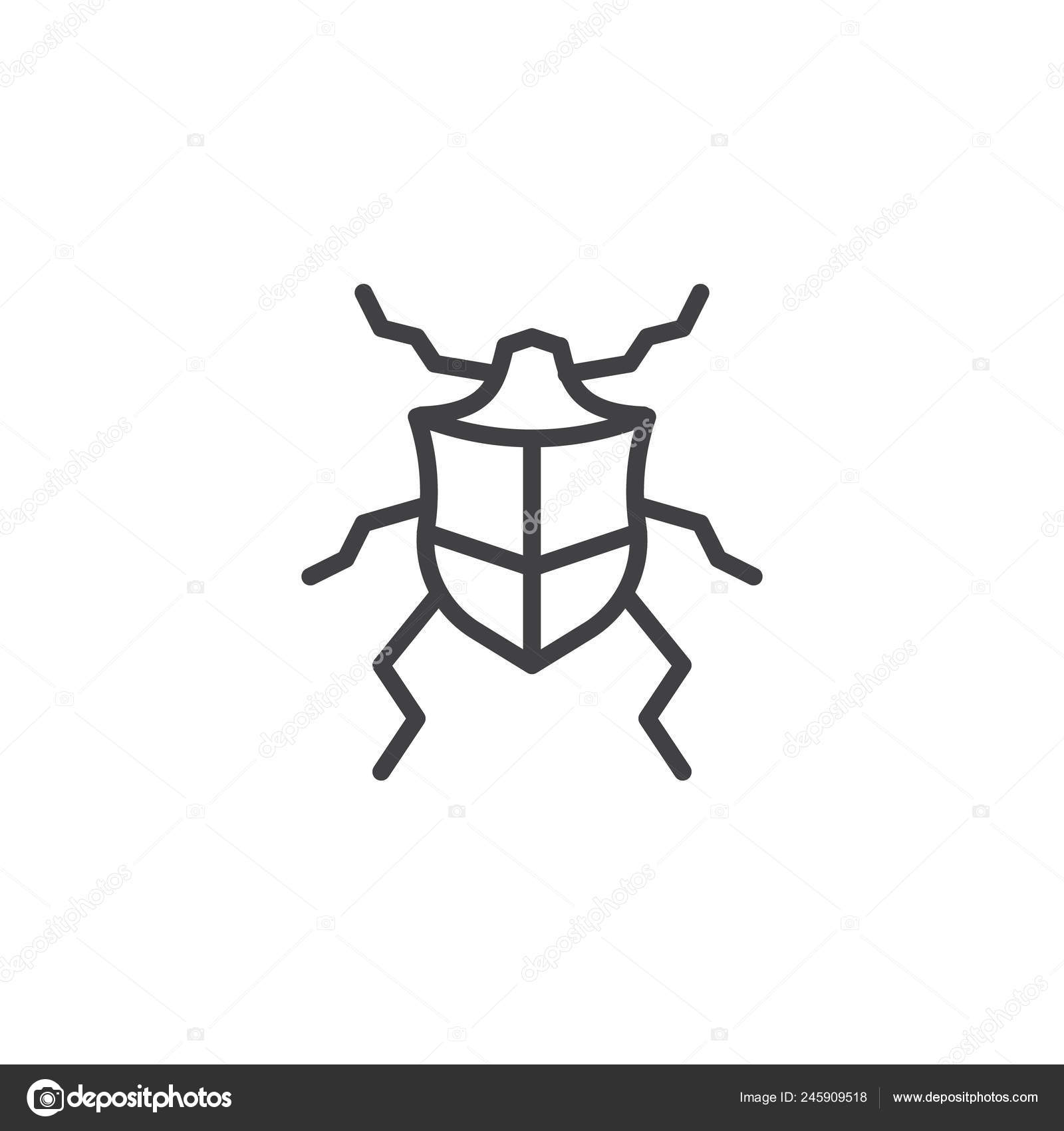 beetle line icon outline vector sign linear style pictogram isolated