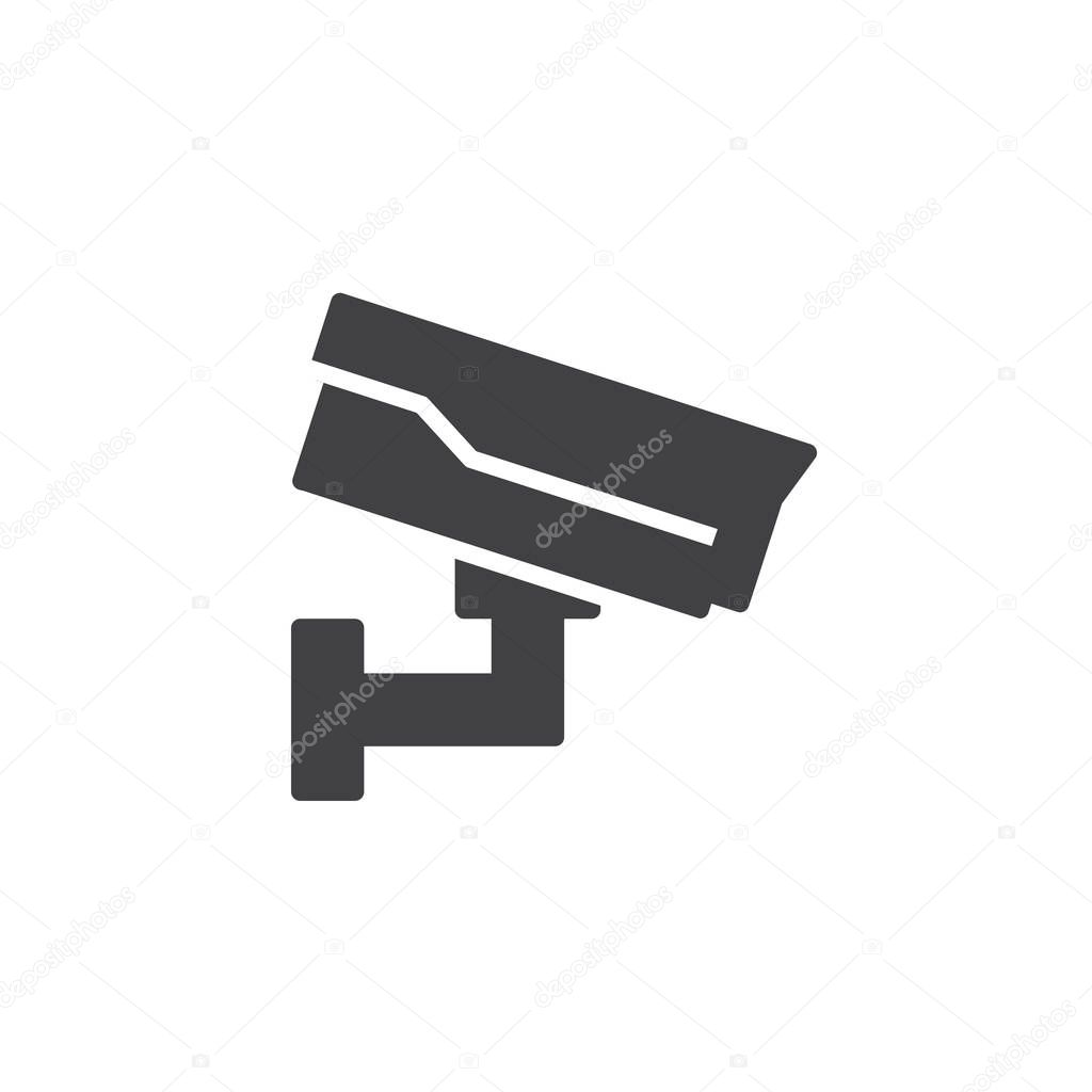 Casino cctv icon vector, filled flat sign, solid pictogram isolated on white. Security camera symbol, logo illustration.