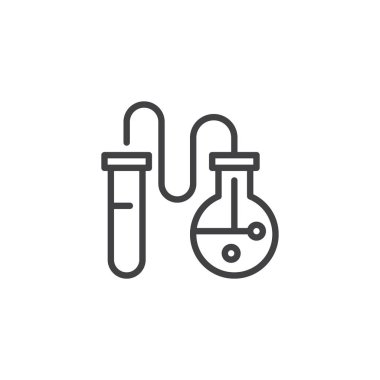 Chemical flask and test tube outline icon. linear style sign for mobile concept and web design. Chemical laboratory equipment simple line vector icon. Symbol, logo illustration