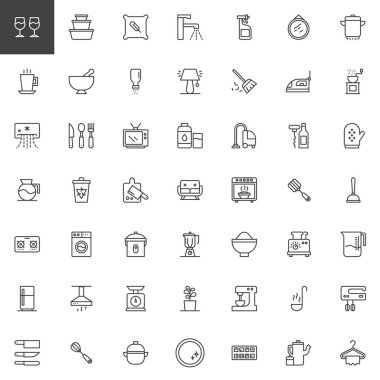 Homeware outline icons set. linear style symbols collection, line signs pack. vector graphics. Set includes icons as wine glass, container, pillow, tap, sprayer, sweeping broom, air conditioner icon