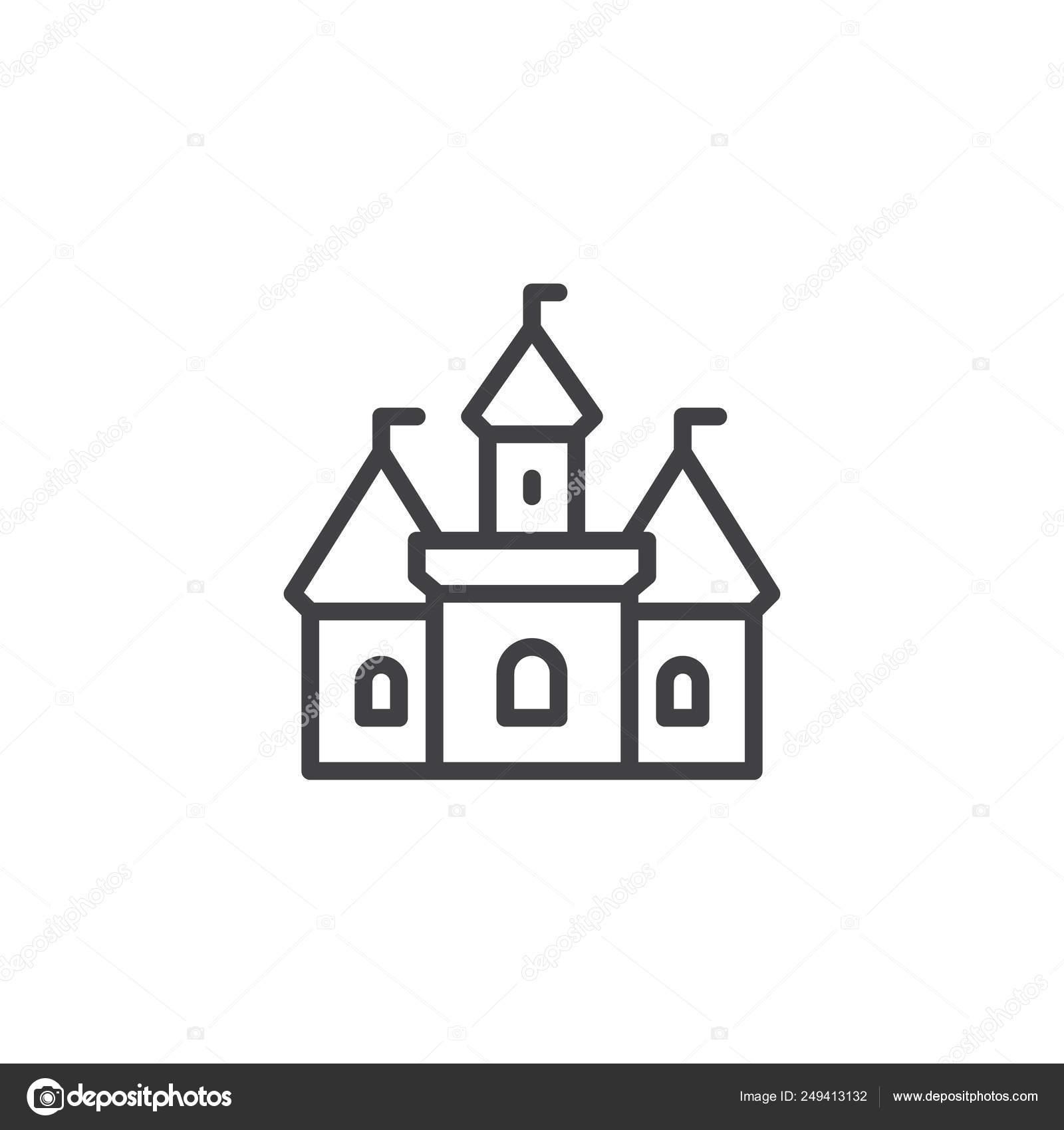 Castle Building Outline Icon Stock Vector C Avicons 249413132