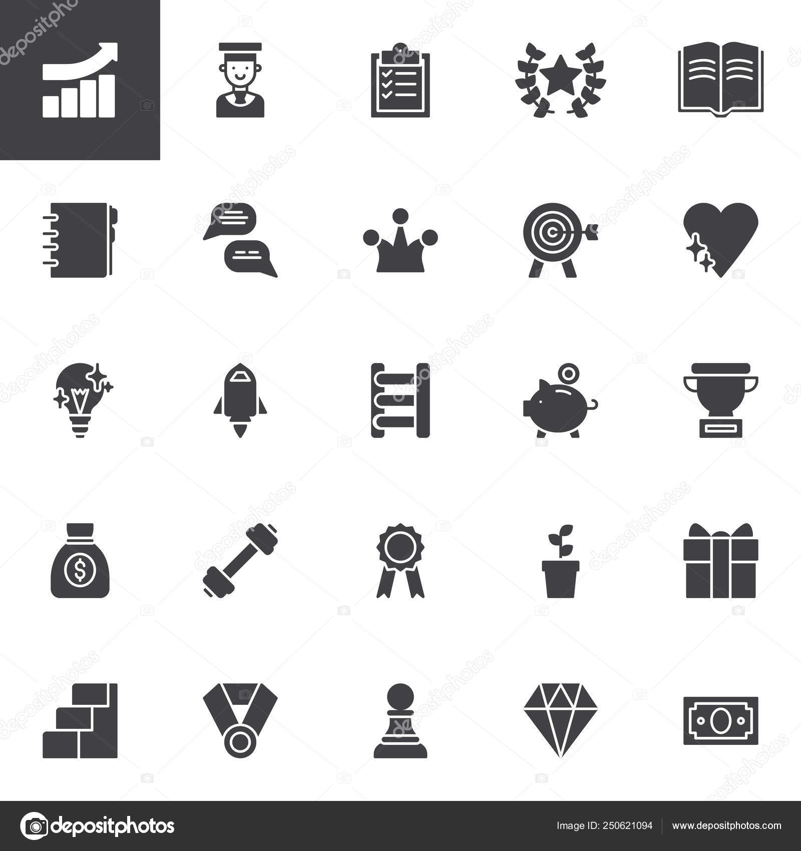 Motivation Vector Icons Set Modern Solid Symbol Collection