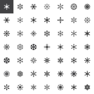 Snowflake vector icons set, modern solid symbol collection, filled style pictogram pack. Signs, logo illustration. Set includes icons as snow flake, winter, frozen, Christmas, New Year holiday icon