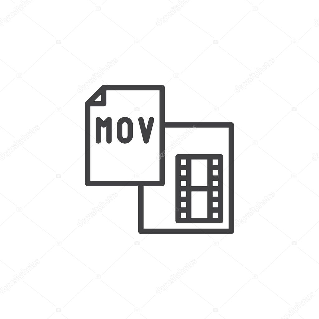 Mov file format outline icon