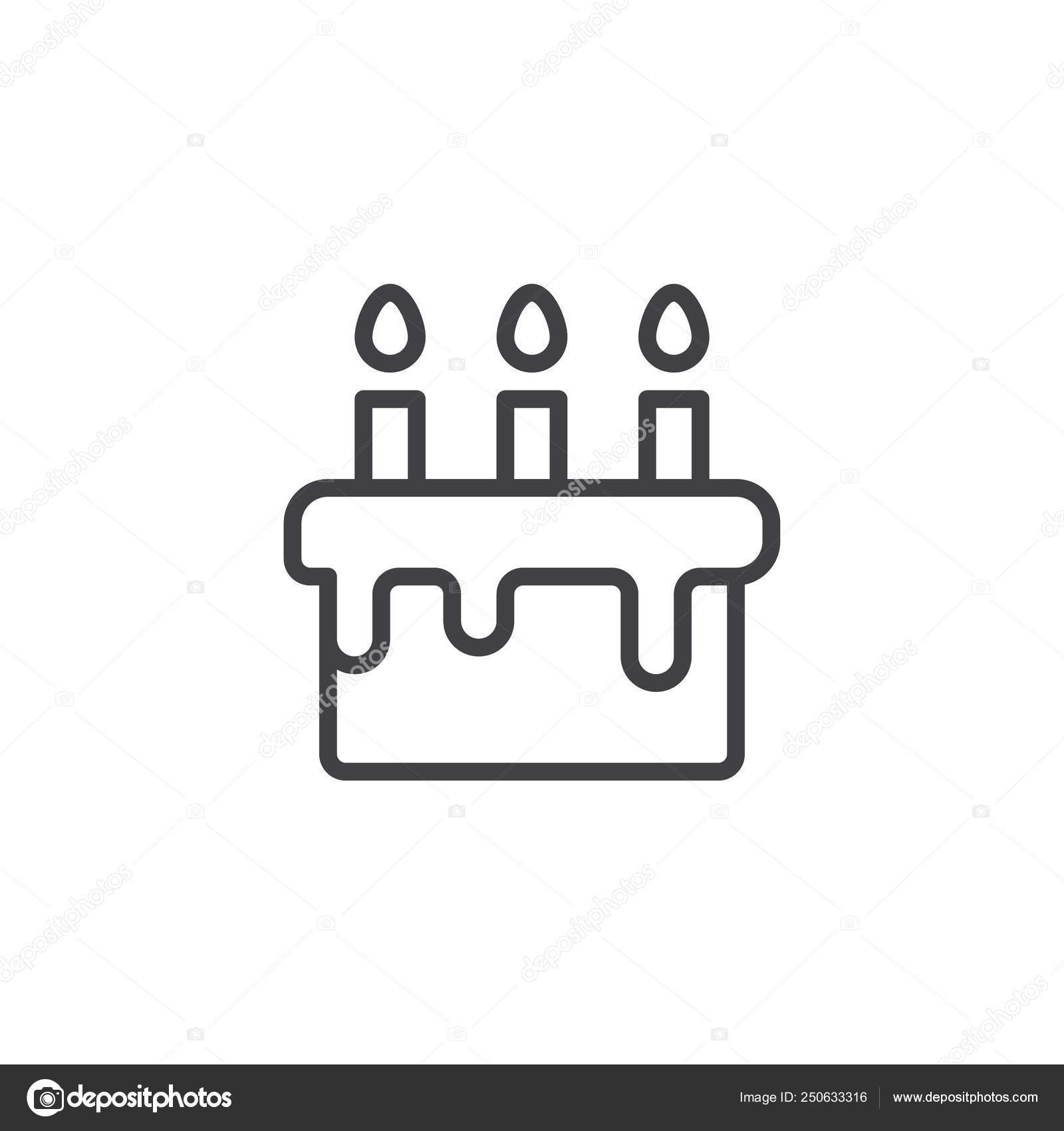 Sensational Birthday Cake Outline Icon Stock Vector C Avicons 250633316 Birthday Cards Printable Trancafe Filternl