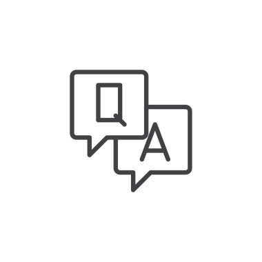 Q and A letters in speech bubble outline icon