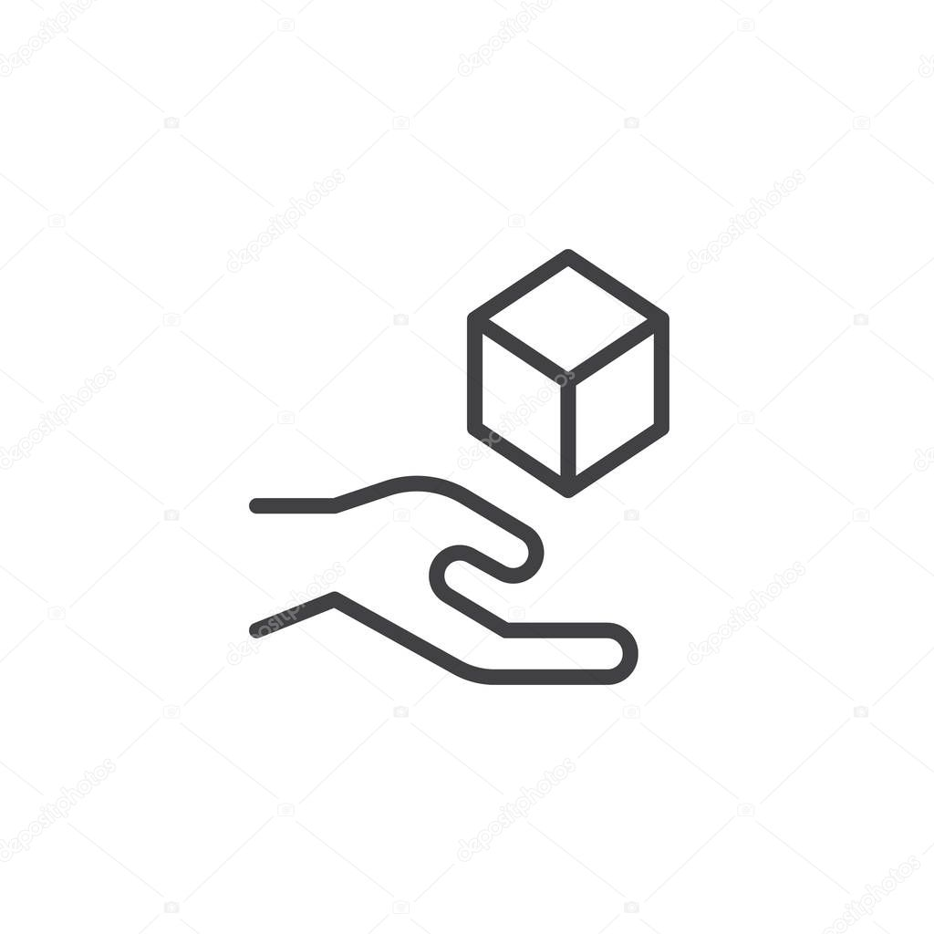 Cube levitating above hand outline icon. linear style sign for mobile concept and web design. Magic trick simple line vector icon. Symbol, logo illustration. Pixel perfect vector graphics
